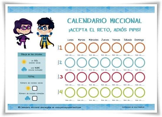Psico Ayuda Infantil - Calendario miccional - Enuresis infantil: ¿Por qué mi hijo moja la cama?
